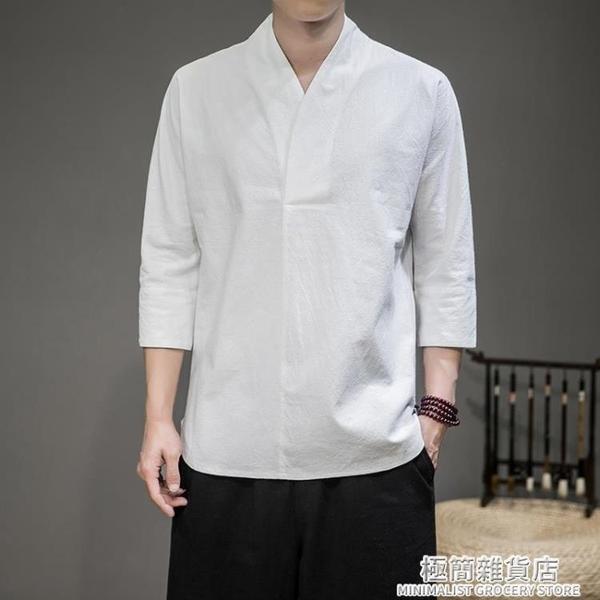 七分袖t恤男寬松夏季潮流大碼亞麻短袖男士棉麻中袖上衣薄款半袖 極簡雜貨