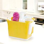 ◄ 生活家精品 ►【G46-1】廚房瀝水收納盒 浴室 餐具 清潔 洗漱 分隔 鏤空 瀝乾 菜瓜布 抹布 防滑