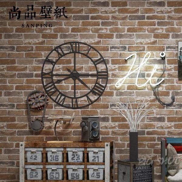 壁紙-復古懷舊3D立體仿磚紋磚塊磚頭墻紙咖啡館酒吧餐廳文化石紅磚壁紙【大咖玩家】T1