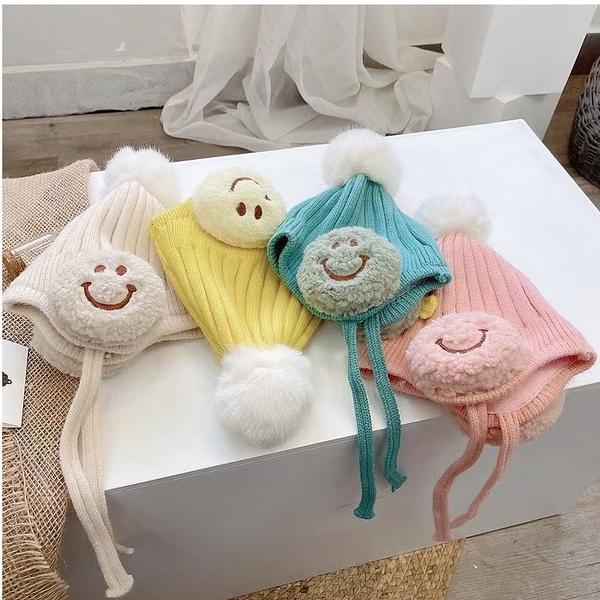 母嬰同室 立體笑臉護耳羊絨針織帽 (0-2Y) 秋冬保暖配件 童帽 寶寶帽 冬帽 毛帽 針織帽【JD0087】