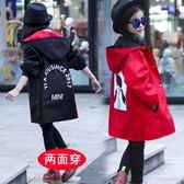 風衣外套 女童春秋裝洋氣外套韓版中大童中長款風衣兒童裝上衣薄款【小天使】