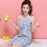 吊帶純棉睡裙碎花小清新加大碼女睡衣韓版學生可愛卡通家居服