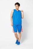 V.TEAM 配色條紋剪接吸濕排汗籃球褲_中藍
