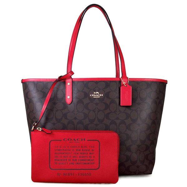 COACH 金馬車Logo雙面子母大托特包 肩背包(咖啡紅色)-36658
