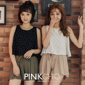 上衣 鉛筆雪紡背心無袖上衣 - PINK CHIC - 13702