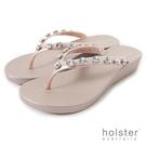 HOLSTER  果凍水鑽人字帶厚底夾腳鞋-粉金色