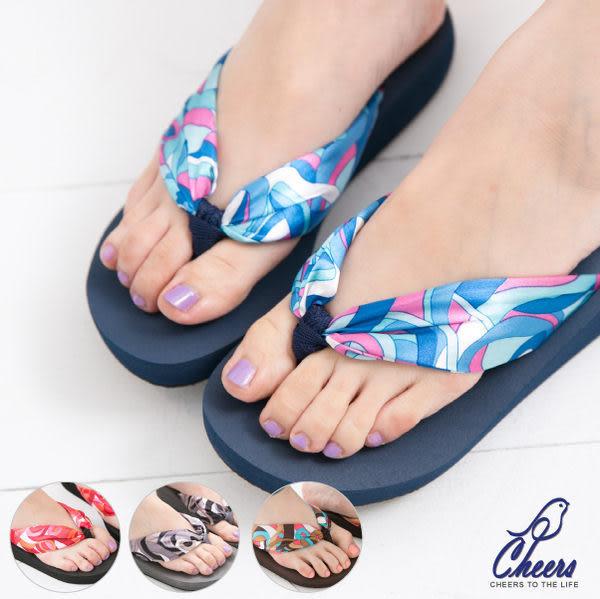 拖鞋*鵲兒*濺起浪花可愛花布海灘厚底夾腳拖-四色 現貨【KH35005】