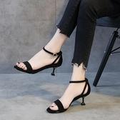 夏季涼鞋女2019新款一字扣高跟鞋仙女風時尚細跟中跟單鞋 萬客居