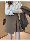 百褶裙 顯腿長輕熟半身裙女2021春夏新款氣質顯瘦a字不規則百褶包臀短裙 晶彩