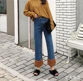 牛仔寬褲 韓版加絨翻邊拼接寬鬆高腰羊羔毛牛仔褲女直筒九分闊腿褲zzy8601『伊人雅舍』