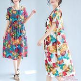 棉麻文藝印花大尺碼寬鬆短袖連身裙