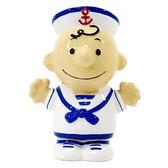 〔小禮堂〕史努比 查理布朗 全身造型陶瓷存錢筒《藍白.水手服》擺飾.撲滿.儲金筒 4979274-17932