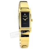 CITIZEN 星辰表 / EZ6362-54E / 秀氣細緻 晶鑽刻度 礦石強化玻璃 日本機芯 不鏽鋼手錶 黑x鍍金 14mm