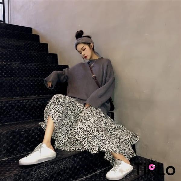 連身裙-Tirlo-豹紋大裙擺連身裙-兩色(現+追加預計5-7工作天出貨)