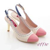 effie 軟芯系列 全真皮雙色拼接車縫線金屬細高跟鞋 粉紅色