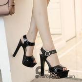 恨天高/新款15公分超高跟鞋性感夜店粗跟顯瘦涼鞋魚口鞋