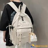 潮書包後背包日韓版帆布百搭男女時尚雙肩包森系大學生背包