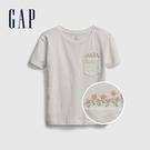 Gap女童 棉質口袋刺繡圓領短袖T恤 538278-白色