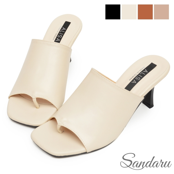 拖鞋 韓風大寬版夾腳細跟鞋-米