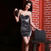 抹胸洋裝 夏季新款女裝絲絨夜店性感抹胸包臀露背修身打底洋裝潮顯瘦 coco衣巷