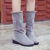 高筒雪地靴女韓版加絨保暖中筒靴學生平底靴女靴子  米菲良品