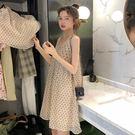 吊帶裙 夏裝韓版裙子愛心吊帶連身裙女氣質波點寬鬆很仙的吊帶裙 【韓國時尚週】