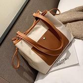 帆布包單肩大包包女2021新款潮韓版百搭簡約時尚大容量手提托特包
