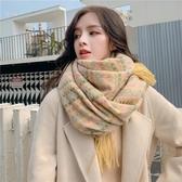 圍巾 韓版小香風格子圍巾女冬季學生百搭披肩加厚圍脖可愛少女心脖套