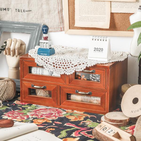 【BlueCat】四抽屜 復古仿舊收納實木櫃 木架 木盒 收納櫃 置物架 展示架 櫃子
