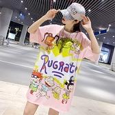 T恤裙M-4XL2021夏季網眼泰國潮牌卡通印花短袖打底衫寬松個性中長款T恤T361 韓依紡