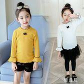 中大尺碼女童純棉打底衫秋袖2018韓版秋裝新款兒童t恤喇叭袖洋氣上衣 QG6783『優童屋』