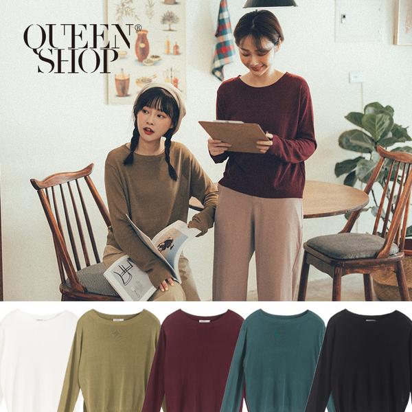 Queen Shop【01012352】簡約素面圓領針織上衣 五色售*現+預*