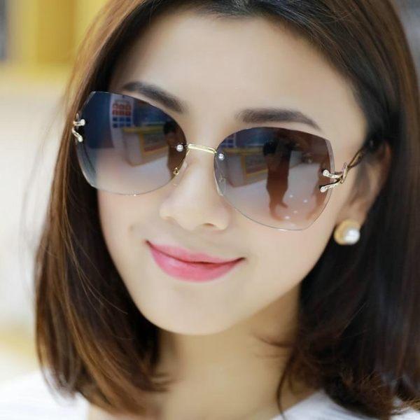 雙12購物節鏤空鏡腿無框太陽鏡墨鏡女款駕駛旅游眼鏡mandyc衣間