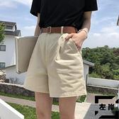 高腰闊腿短褲女白色寬鬆顯瘦a字熱褲休閒工裝短褲子夏季韓版【左岸男裝】