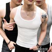 男士背心高彈力帥氣青年透氣緊身型跑步無袖T恤健身運動肌肉坎肩  韓語空間