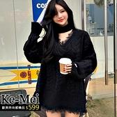 克妹Ke-Mei【ZT64512】Edition撩人神器暗黑慵懶蕾絲愛心袖厚毛衣洋裝