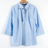 【MASTINA】條紋蝴蝶結五分袖暗扣襯衫-藍 秋冬嚴選
