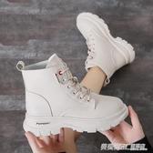 新款秋季英倫風馬丁靴女網紅單靴厚底百搭帥氣春秋款小短靴子  英賽爾