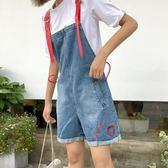 牛仔背帶短褲女裝韓版寬鬆學生背帶褲百搭闊腿褲女裝連體褲   瑪奇哈朵