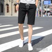 短褲男運動男士休閒中褲子夏季寬鬆工裝七分沙灘夏天亞麻五分褲潮  韓語空間