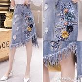 新款女韓版高腰牛仔半身裙刺繡花中長裙流蘇破洞不規則裙 卡布奇諾