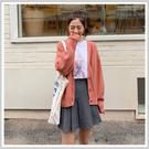 針織罩衫 優雅排扣質感針織短外套OM81206-創翊韓都