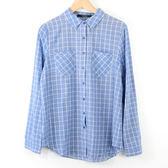 【MASTINA】藍底白線方格襯衫-藍  冬末好康
