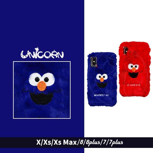 -好友-毛茸茸兩色ELMO 全包軟殼 保護殼 iphone XSMax XR X XS 8 8plus 7 7plus Unicorn手機殼