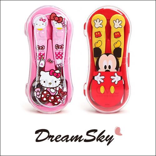 韓國 LILFANT 米奇 HELLO KITTY 凱蒂貓 餐具組 盒裝 湯匙 叉子 迪士尼 三麗鷗 兒童 可愛 DreamSky