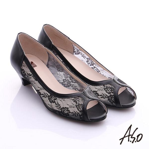 A.S.O 法式浪漫 全真皮拼花蕾絲布魚口鞋  黑