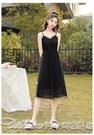 2021年新款春裝小黑裙仙女森系吊帶裙長裙雪紡蕾絲連衣裙女 阿卡娜