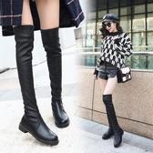 膝上靴女2019秋冬新款加絨百搭過膝長筒皮靴