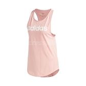 adidas 背心 Essentials Linear Tank Top 粉 白 女款 挖背剪裁 運動休閒 【ACS】 FM6359