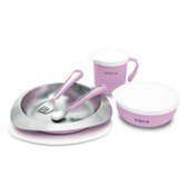 兒童學習餐具 兒童不鏽鋼餐具 VIIDA - Soufflé 抗菌不鏽鋼餐具組 (薰衣草紫) 幼稚園必備品